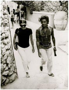 Jackie Kennedy with Valentino in Capri, 1970