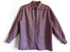 Dark Red Plaid Shirt Flannel Cotton Shirt Long Sleeves Buttons Down Women's Shirt Red & White Checkered Shirt Comfortable Cloting M size by Vintageby2sisters on Etsy