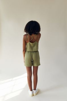 Basic Shorts, Square Necklines, Green Tops, Crop Tank, Organic Cotton, Label, Rompers, Bra, How To Wear