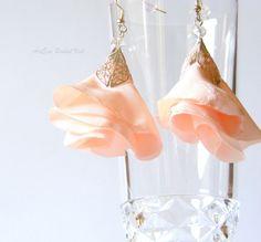 Bride's earrings, silver leaf, peach or coral flowers, swarovski crystal, wedding jewelry, wedding accessory,  textile jewelery. $20.00, via Etsy.