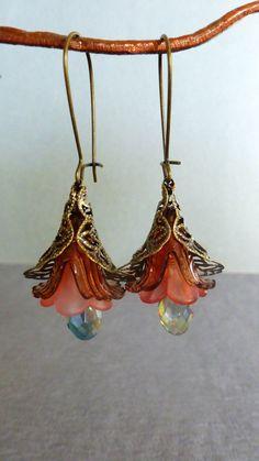 lucite flower earrings / pink flower earrings by DancingEyeJewels, $22.00
