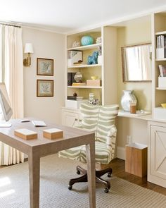 Neutral home office with lots of storage