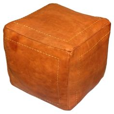 Ikram Design Genuine Leather Square Moroccan Pouf Ottoman | from hayneedle.com