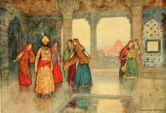 """Illustration for """" The Boy with the Moon on his Forehead"""" by Warwick Goble from the book Falk Tales of Bengal - Warwick Goble, Princess And The Pauper, Indian Theme, 22 November, Arabian Nights, Bengal, Illustrators, The Book, Fairy Tales"""
