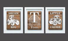 Farm Decor Dream Big Little Farmer Tractor Wall Art Tractor Playroom Wall Decor, Playroom Furniture, Kid Bathroom Decor, Boys Room Decor, Nursery Decor, Boys Bedroom Paint, Bedroom Wall, Tractors For Kids, Farmhouse Wall Decor