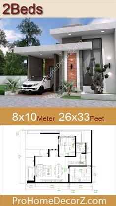 House Design 3d, Modern Bungalow House Design, Modern Small House Design, Small House Exteriors, Village House Design, Simple House Design, House Front Design, Small House Layout, Architect Design House