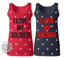 I Love My Soldier Custom Army StarryTank Top by MilitaryHeartTees, $28.00
