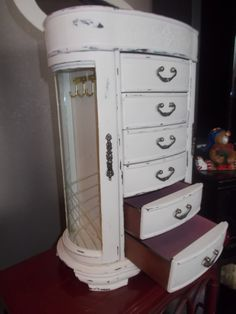 Painted Jewelry Box Armoire Shabby Chic 18 tall by LaBellaFrames