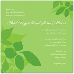 There are many nuances to the shade of green, and green can be chartreuse (yellow-green), to leaf green (bright green), to olive (brown-green). Each of these shades to all of the shades in between can be used either as a main color or accent on a wedding invitation, save the date card, or wedding announcement.