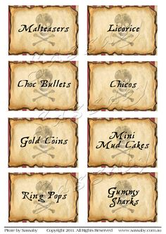 Pirate Party Labels Boys Birthday  DIY PRINTABLE FILE by Sassaby, $6.50