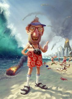 "Tourist by Tiago Hoisel - Digital art illustration by Tiago Hoisel, Brazil. From the artist: ""This is another illustration I did for the cover of Mundo Estr Funny Illustration, Character Illustration, Funny Character, Arte Horror, Art Graphique, Funny Art, Fantasy Art, Concept Art, Funny Pictures"