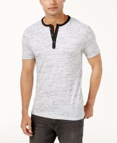 Calvin Klein Jeans Men's Heathered Henley - White M