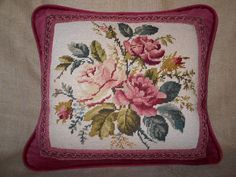 Vintage Roses Needlepoint Pillow by FreeStarStudio on Etsy Thing 1, Needlepoint Pillows, Down Feather, Cotton Velvet, Vintage Roses, Gold Accents, Compliments, Upholstery, Cushions