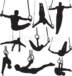 Vector of 'Gymnastics Rings Silhouettes'