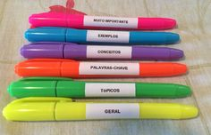 Meu sistema de marca-textos: • Geral • Tópicos • Palavras chave • Conceitos • Exemplos • Muito importante My highlighters system: • General • Topics • Key words • Concepts • Examples • Very important Study Techniques, Study Organization, School Accessories, School Study Tips, School Items, School Stuff, Lettering Tutorial, Study Hard, Study Inspiration