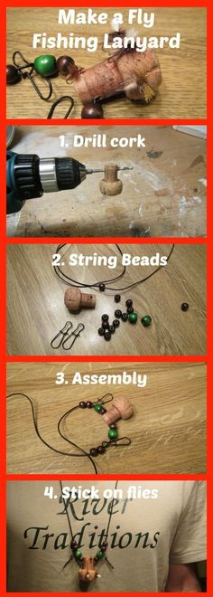 Fly Fishing Lanyard How to make a fly fishing lanyard from a wine cork. Easy 4 steps http://rivertraditions.com/