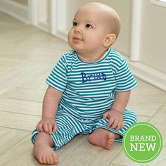 Baby Boys Teal Stripe Romper – Lolly Wolly Doodle Small Doodle, Baby Boy Fashion, Baby Boys, Teal, Rompers, Brand New, Clothes, Collection, Style