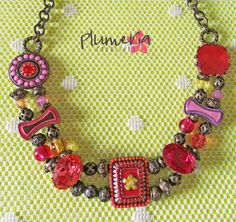 Collana con cabochon con catena a maglia color bronzo di PlumeriaCrS su Etsy