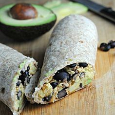 Black Bean Breakfast Burrito - high protein and fiber to make it last for just over 300 calories!