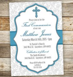 Baptism Invitation - First Communion Boy Invitations - Blessing Invitation - Confirmation  If there are different colors you would like just