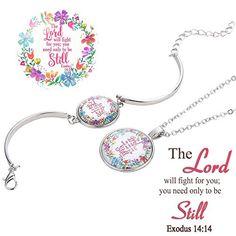 dd9a37b24 Tuoke Bible Verse Necklace Bracelet Jewelry Sets Faith Christian Religious  Inspirational Bangle Bracelet Necklace Handmade Silver