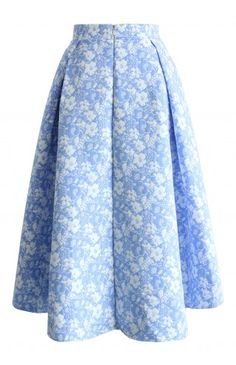 Sky Blue Jacquard Floral Waterfall Skirt - Retro, Indie and Unique Fashion