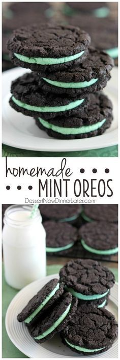 Mint Buttercream Frosting - These Homemade Mint Oreos have a simple mint buttercream sandwiched between crisp, yet tender, dark chocolate cookies! Yummy Cookies, Yummy Treats, Delicious Desserts, Sweet Treats, Yummy Food, Baking Recipes, Cookie Recipes, Dessert Recipes, Brownie Recipes