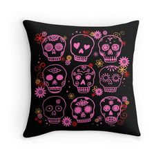 Mexican Pink Skulls Throw Pillow, Apparel and More at Redbubble #DayoftheDead #DiadelosMuertos #Skulls #SugarSkull