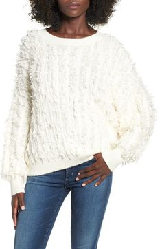 Sun & Shadow Fringe Batwing Sleeve Pullover available at #Nordstrom