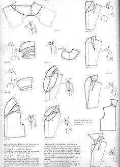 Various renditions of garment collar effects in pattern design.