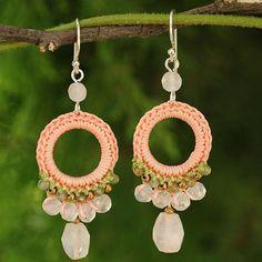 Crocheted Rose Quartz and Labradorite Earrings - Precious Pink | NOVICA