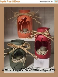 ahnliche artikel wie chalk painted quart jar candle holder centerpiece holiday rustic vase fall autumn pumpkin apple maple leaf auf etsy delivers online tools that help you to stay in control of your personal information and protect your online privacy. Mason Jar Projects, Mason Jar Crafts, Bottle Crafts, Diy Projects, Crafts With Glass Jars, Fall Crafts, Holiday Crafts, Diy Crafts, Holiday Decor