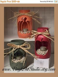 ON SALE Chalk Painted Quart Jar Candle Holder Centerpiece...........Holiday, Rustic, Vase, Fall, Autumn, Pumpkin, Apple, Maple Leaf