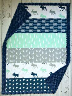 Minky Moose bébé couverture - décorateur Faux couette Moose Minky - marine