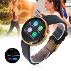 (63.25$)  Buy here - http://aip6f.worlditems.win/all/product.php?id=32802766121 - iMacwear i6 1.22 Inch Round Shape Smart Watch Bluetooth Heart Rate Monitor Alarm Clock PU Leather Smart Watch