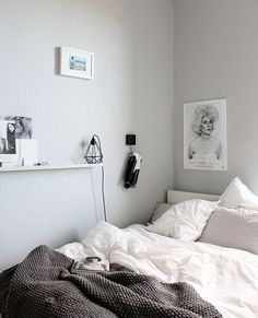 Another bedroom scene, featuring a Black Diamond Cage light.