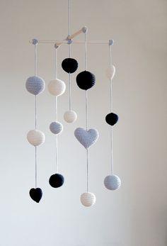 Crochet-décoration de salle ballons/coeurs bébé Mobile - gris/noir/Ivoire de la balle Mobile (mobile de 3 couleurs) - garçons/filles - décor...