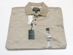 Pronto Uomo Sport L Men's Brown Check Short Sleeve Cotton Golf Polo NEW NWT #ProntoUomo #PoloRugby
