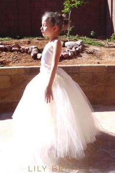 a3bbf7b7311 Ivory Tulle Ball Gown Corset Flower Girl Dress With Lace