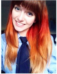 Brown, red, orange and blonde ombre hair
