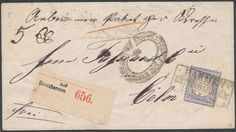 Germany, German Empire, German Reich 1872, 2 Gr. ultramarine, single franking on accompanying letter for parcels with (frame cancel. 3) 'BARMEN / UNTERBARMEN / 14. 6. 5 (1873) ', to Cologne, being an arrival postmark the scarce horseshoe cancel (Spalink (4) 15, Zeite 9 V. - 1 1/2 N., 200 points), at the company Tassius & Co. / under Fettenhennen 11. Price Estimate (8/2016): 140 EUR. Unsold.