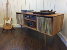 Mid century modern turntable stand, record player cabinet, stereo console featuring quartersawn white oak.