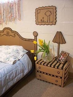 Whimsical cardboard furniture. Omg. Guest room here I come til I can afford new
