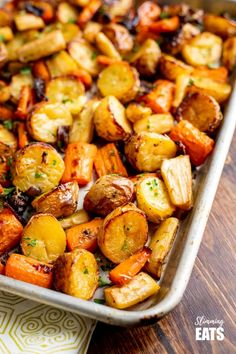 Healthy Delicious Rosemary Roasted Potatoes, Parsnips, Carrots and Onion the perfect addition to any main meal.