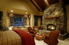 Cosy bedroom Fireplace - Bedroom fireplaces a way of making this room even more warm, cozy and inviting Bedroom Fireplace, Cozy Fireplace, Rustic Bedroom Design, Modern Bedroom, Rustic Bedrooms, Cosy Bedroom, Bedroom Decor, Master Bedroom, Cabin Chic