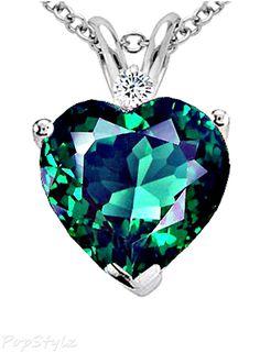 Emerald & Genuine Diamond Heart Necklace