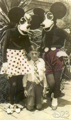 The original Mickey and Minnie Mouse costumes in 1939, before Walt Disney had them redesigned for Disneyland in 1955.