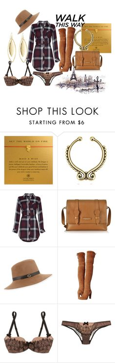 """Walk This Way"" by nudge-411 on Polyvore featuring Dogeared, The Bridge, Inverni, Stuart Weitzman, Agent Provocateur and Fragments"