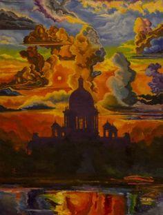 """Saatchi Art Artist Denis Krivosudov; Painting, """"Sunrise on Saint Isaac's Cathedral"""" #art"""