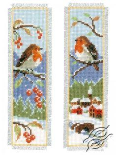 CROSS STITCH KITS - VERVACO - Bookmarks - Bookmark - Robins - Gvello Stitch